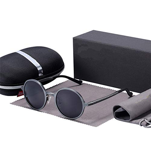 TeRIydF Gafas Negras Gafas de Sol Redondas Gafas de Hombre Gafas de Sol de Mujer