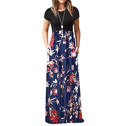 TIFIY Sommerkleid Damen,Elegante Casual Ärmel Oansatz Druck Maxi Blumen Langes Kleid Boho Strand Partykleider Hemdkleider (A_ h,M