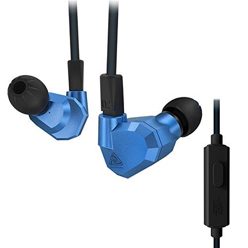 KZ ZS5 Dual Dynamische en Dual Armature 2DD+2BA Hifi In Ear Oortelefoon (Blauw zonder Mic)