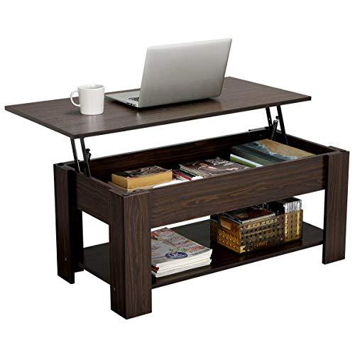 Yaheetech Tavolino da caffè sollevabile Tavolo Moderno Elevabile da Salotto Divano caffè con Ripiano Inferiore 98 x 50 x 41,8 cm (Marrone)
