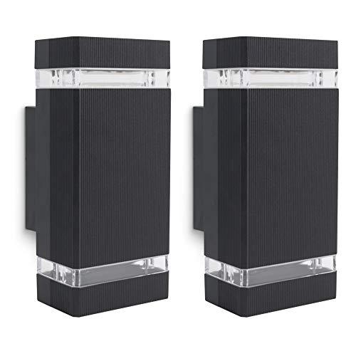 SSC-LUXon 2 Stück SELA Wandleuchte Aussen Up & Down 2x GU10 Fassung - Wand Außenleuchte schwarz IP54 für Hauswand & Terrasse
