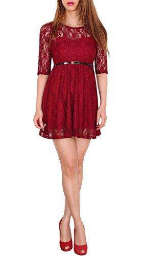 Sodacoda Damen Spitzen-Kleid - Süßes Prinzessin Mini Kleid 3/4 Arm - EXTRA KURZ (Wein Rot S)