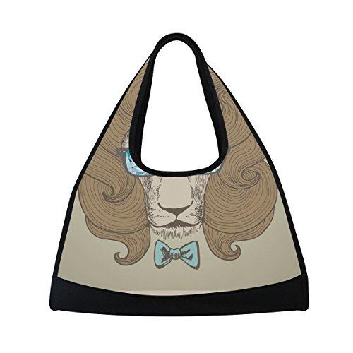 TIZORAX Chic Haarschnitt mit Brille Löwe Hochformat Duffle Reisetasche Sport Gym Bag Umhängetasche