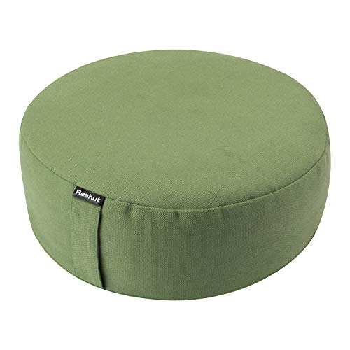 REEHUT Zafu Yoga Meditation Cushion, Round Meditation Pillow Filled with Buckwheat, Zippered Organic Cotton Cover, Machine Washable - 4 Colors and 3 Sizes (Green, 12'x12'x4.5')