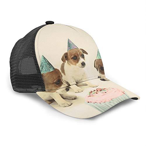 Unisex Baseballmütze Vintage Welpe Geburtstag Kuchen Hunde Cap Snapback Bill Hip Hop Hats Hut Hut Schwarz