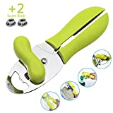 Fundaful Manual Can Openers, 4 in 1 Safety & Smooth Edge Tin Can Opener, with Non-Slip Handle and Ergonomic Turning Knob Handled Can Opener for Elderly with Arthritis (Green)