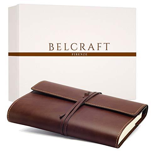 Vietri Classico A5 mittelgroßes Notizbuch aus recyceltem Leder, Handgearbeitet in klassischem Italienischem Stil, Geschenkschachtel inklusive, Tagebuch A5, Lederbuch (15x21 cm) Braun