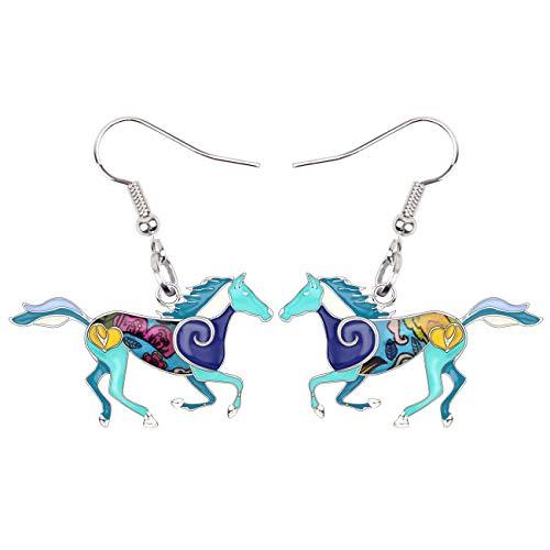 NEWEI Enamel Alloy Sweet Running Horse Earrings Drop Dangle Fashion Animal Jewelry for Women Girls Gift (Blue)