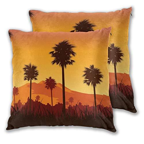 nonebrand Kerala Ricefield Sunset Free Throw Kissenbezüge Tagesdekoration Sofa Schlafzimmer Auto Kissenbezug Reißverschluss quadratisch 45,7 x 45,7 cm Set von 2
