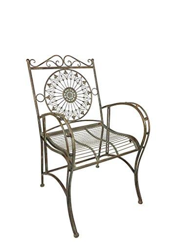 Crispe home & garden Eleganter robuster Stuhl Granada aus Metall im Landhaus-Stil, Antikgrün für Haus und Garten