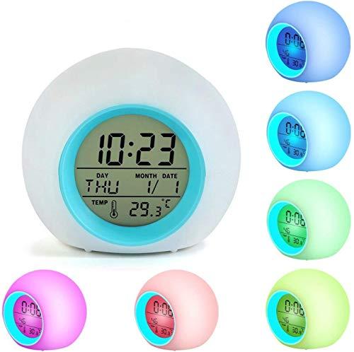 LTXDJ Despertador Infantil, Reloj Despertador para niños con 7 Colores y 6 Tonos de llamada Naturales, con Hora, Fecha, Temperatura, Función Snooze