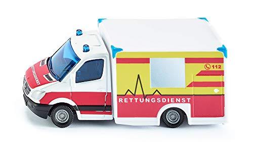SIKU 1536, Rettungswagen, Metall/Kunststoff, Rot/Gelb/Weiß, Vielseitig einsetzbar, Spielzeugfahrzeug für Kinder