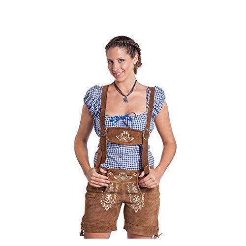 FROHSINN Trachten Damen Lederhose - traditionelle mittellange Trachtenlederhose (Hellbraun, 40)