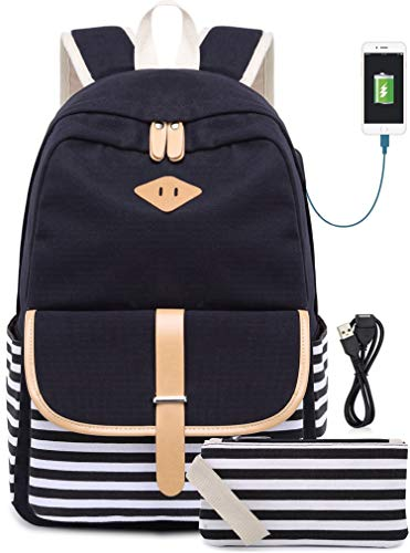 Schulrucksack Rucksack für Mädchen Schultasche Backpack Canvas Rucksack mit 15.6 Zoll, USB Charging Port Schwarz