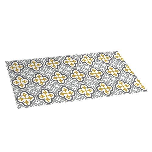 Alfombra vinílica Mosaico, Alfombra de Vinilo Acolchada, Lavable y Antideslizante. Es una Alfombra Ideal para Cocina, salón, dormitorios… (Flor Gris, 50cm x 110cm)