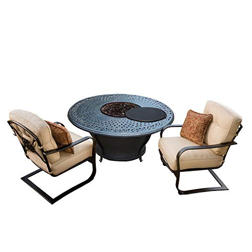 Buy Discount CC Outdoor Living 3-Piece Round Cast Aluminum Gas Fire Pit Set w/Cream Patio Spring Cha...