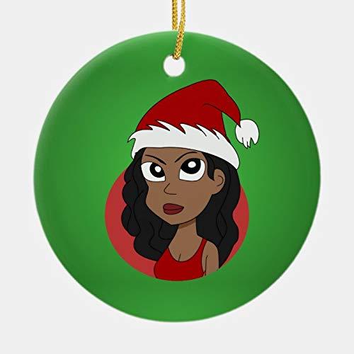 McC538arthy Christmas Santa Hat Ornaments, Christmas Girl Cartoon Ceramic Ornament Hanging Ornament Xmas Tree Decor Gifts 3''