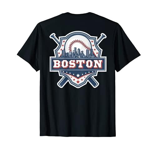 Boston Baseball Skyline Cityscape Retro Baseball (on back) T-Shirt
