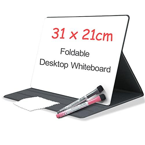 Oterri Whiteboard A4 Tragbares Desktop 31x21cm mit Schutzhülle, Mini Whiteboard Notebook für den Schreibtisch, Abwischbar Wiederverwendbares Kleine Weiße Tafel, für Büro Zuhause Schule(Dunkelgrau)