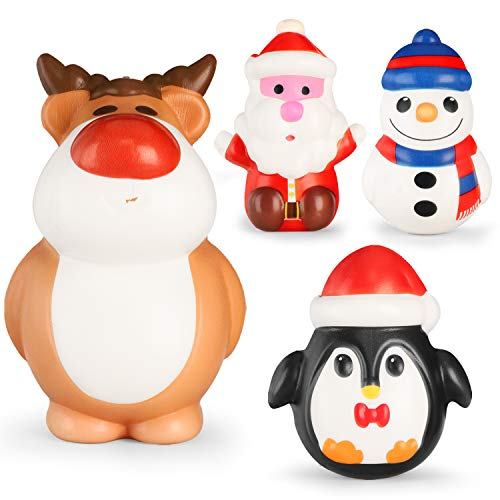 EKOOS Christmas Squishy Jumbo Squishies Toy - Santa, Reindeer Squishy, Snowman & Penguin Kawaii Squishy Kids Toys Soft Slow Rising Scented Squishies Stress Relief Toy for Christmas Holiday Favour