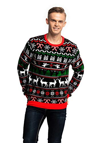 Unisex Men's Knit Ugly Christmas Sweater Funny Festive Reindeer Pullover - Fab Festive Fair Isle, X-Large