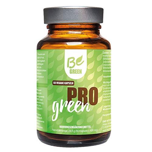 "Begreen Pro Green von BeGreen® 60 Vegane Kapseln - Milchsäure produzierende Bakterienstämme + Inulin - Erhöhung der Anzahl an ""guten"" Keime im Dickdarm – magensäureresistenten, veganen Kapselhüllen"
