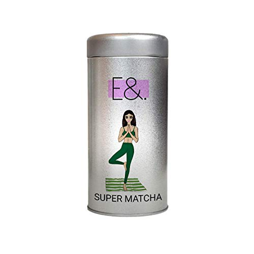 E&. SUPER MATCHA COMPLEX 200g | Vegan Superfood Blend Supplement | Includes Soil Association Certified Organic ingredients Matcha, Maca, Chlorella, Wheatgrass, Ginger and Acai Powder