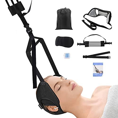 Nacken Hängematte, Hals Hängematte mit Stützstange und Ohrloch, Flexibel Kopfhängematte zur Schmerzlinderung, Neck Stretcher Hammock für Nackenschmerzen, Muskelverspannungen, Schulterschmerzen