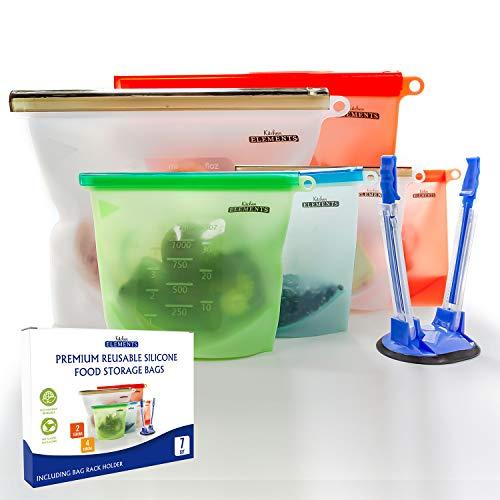 Kitchen Elements UK [7 Set] Premium wiederverwendbare Silikon-Aufbewahrungsbeutel] [4 x 1000 ml + 2 x 1500 ml + Bonus-Beutelhalter ] Gefrierschrank- und Mikrowellen- & spülmaschinengeeignet