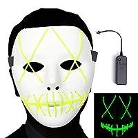 光るマスク ハロウィン仮面 ダンスマスク 3つモード ELワイヤーデザイン 不気味に LED仮装マスク 光るお面 パーティー イースター 仮装大会 記念日 学園祭 コスプレ小物 小道具 (緑)