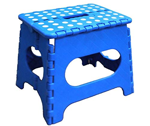 Folding Step Stool  11quot Hight  The Lightweight Step Stool is Sturdy Enough to Support Adults and Safe Enough for Kids Opens Easy with One Flip Great for Kitchen Bathroom Bedroom Blue