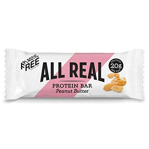 All Real 100% Natural Plastic Free Protein Bars - Peanut Butter 60g 16 Pack |Sustainable Nutrition | Plastic Free Packaging | All Natural Ingredients | 20g Protein Bar