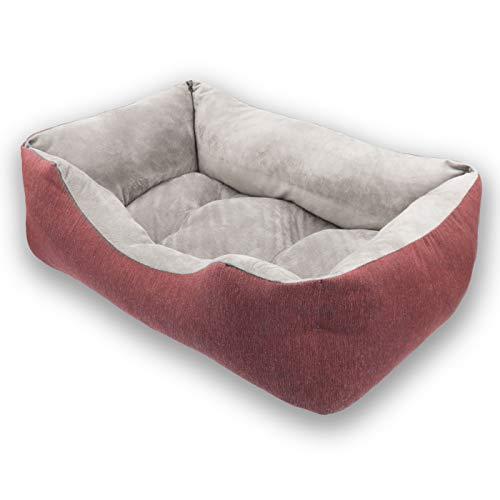 MERCURY TEXTIL- Sofá, Cesta,Cama Comoda para Perros,Gatos y Mascotas, con Relleno de Fibras Super Suave,Resistente al Desgaste y Duradero (Mediano, Granate)