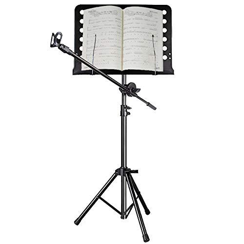 Para Partitura Negro Atril con Soporte de Micrófono, Muy Alto Soporte de Trípode de Metal para Guitarristas/Transmisión en Vivo/Rendimiento Instrumental Atriles (Size : 90cm-150m tall)
