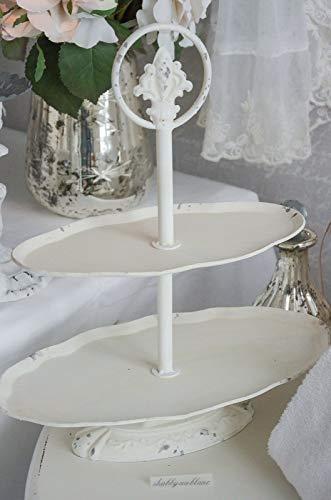 Wunderschöne Etagere oval Shabby Chic Cremefarben Creme mit Griff 2-stöckig antik Schale Schüssel...
