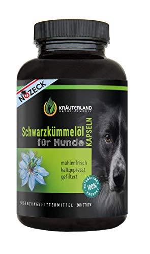 Kräuterland - Schwarzkümmelöl Kapseln für Hunde 300 Stück - zum Einführungspreis - 100{10c364c83dade78d8e29da09c37e392acf3924bceea144e70cf2ed7e380a2b91} rein, gefiltert, kaltgepresst, ohne Zusätze - direkt vom Hersteller - tägliche Futterergänzung für Hund