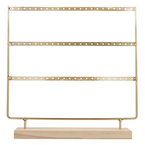 Cabilock Soporte para joyas y pendientes, de hierro dorado, marco de madera, para pendientes, collares, pulseras, organizadores, expositor de escritorio, almacenamiento de tocador.