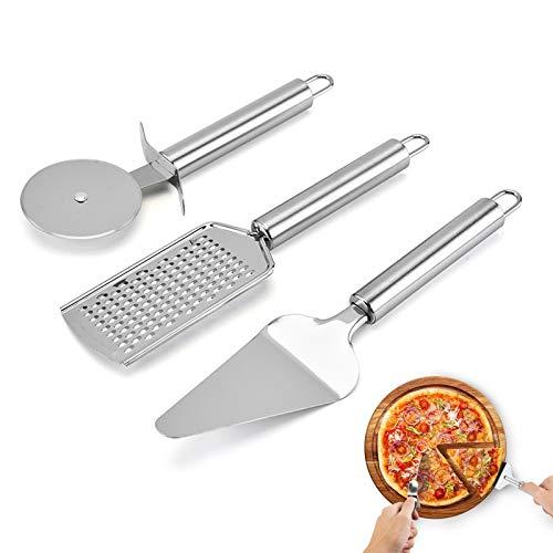 Dzmuero Rotella Tagliapizza,3Pezzi Taglia Pizza Pala Pizza Set Tagliapizza+Grattugia per Formaggio Portatile+Spatola per Torta Set di Tagliapizza 3 in 1 per Pane/Torte/Biscotti Fatti in Casa