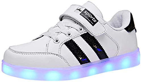 Skybird-UK Unisex Kinder LED Schuhe 7 Farbe USB Aufladen Led Leuchtend Outdoor Sportschuhe Low Top Atmungsaktives Ultraleicht Laufschuhe Gymnastik Turnschuhe Für Jungen Mädchen