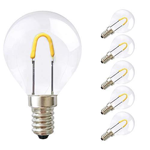 5 x LED Curved Filament Leuchtmtitel 0,85W fast 15W E14 klar extra warmweiß 2400K (Tropfen P45, 5 Stück)