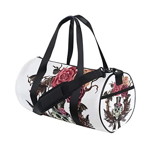 Ahomy Sports Bag Gym Bag Watercolor Gothic Skull Wreath Bat Lightweight Travel Duffel Backpack Weekend Bag