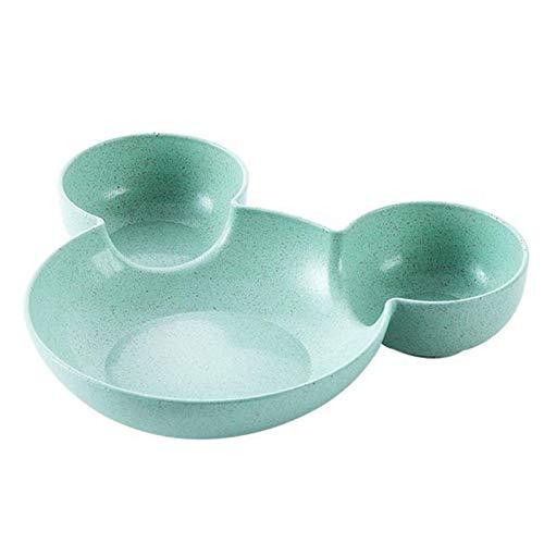 Platos llanos Placa de los niños divididos Lindo creativo de la cena de la cena de la placa del desayuno. Platos para servir de porcelana de cocina (Color : Green mouse)