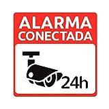 Pegatina adhesiva disuasoria alarma cámaras de vigilancia Alarma conectada 24 horas. Pegatina hogar. Cartel disuasorio alarma Pegatina exterior vigilancia Facil pegar