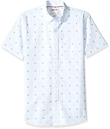 Amazon-Marke: Goodthreads Herrenhemd, kurzärmlig, schmale Passform, aus Dobby, Blau (Light Blue Anchor Anc), US M (EU M)