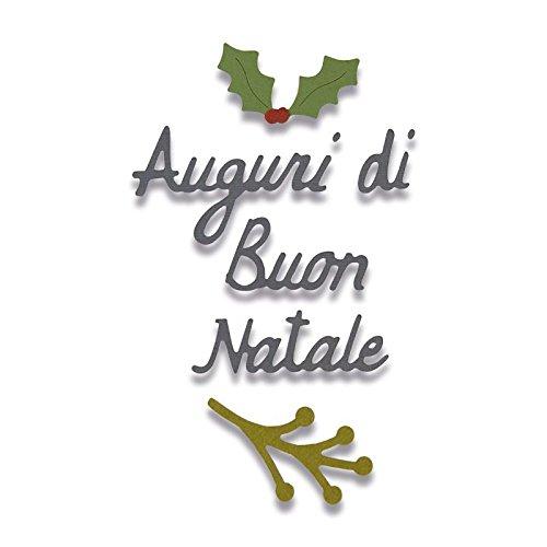 Sizzix 662156 Fustella Auguri di Buon Natale, Acciaio, Argento
