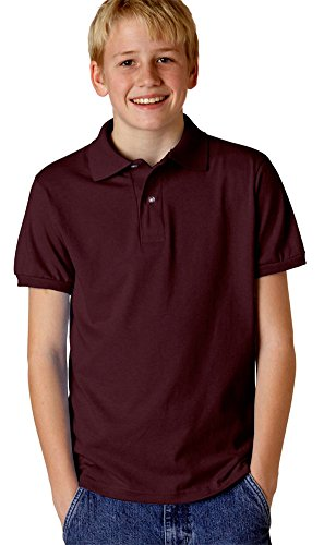 Jerzees Poloshirt für Jugendliche, 147 g, 50/50 Jersey, mit SpotShield (437Y), Kastanienbraun -  Rot -  Mittel