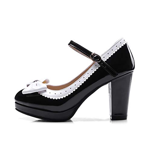 JOEupin Zapatos de mujer lindos Lolita Cosplay Bow Mid Chunky Tacón Mary Jane, negro (Negro), 40.5 EU