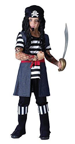 Bristol Novelty CC775 Costume de Pirate avec Tatouages, Taille, Multicolore, Grand