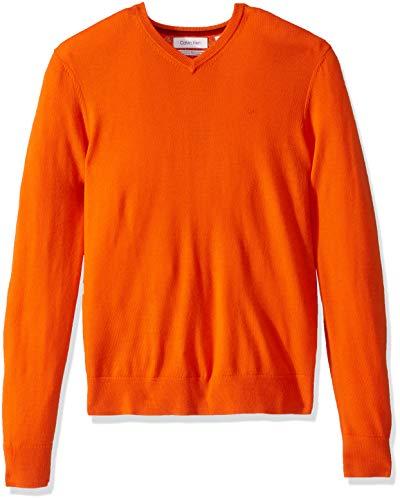 Calvin Klein Men's Merino Sweater V-Neck Solid, Golden Poppy, Small