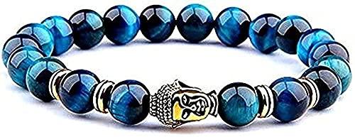 TTDAltd Collar Azul Ojo de Tigre Real para Hombres Cuentas Pulseras elásticas Naturales Sibuddha para Mujeres y Hombres 2019
